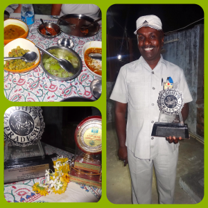 Kalle Bhai and his awards :) + the food of course